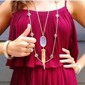 Kendra Scott Slate Gold Long Necklace Tassel